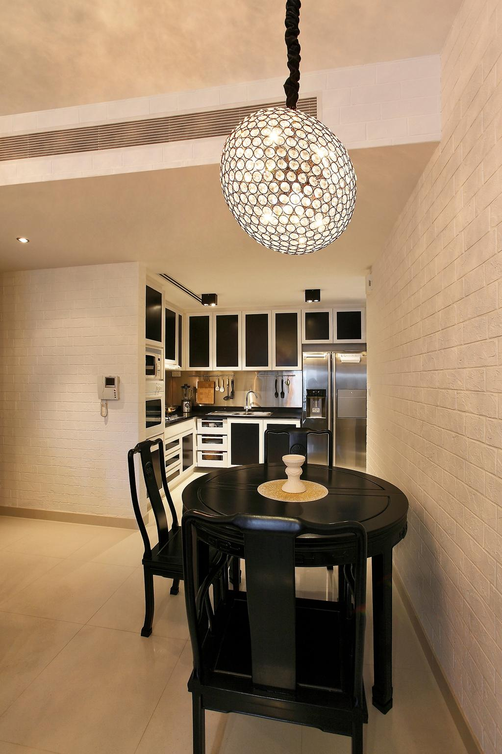 Traditional, Condo, Dining Room, Visioncrest (Oxley Rise), Interior Designer, Corazon Interior, Pendant Lights, Disco Ball, Disco Pendant Lights, White Brick Wall, Brick Wall, White Wall, Black Dining Table, Black Dining Chair, Round Table, Monochrome Kitchen, Monochrome Shelves, Indoors, Interior Design, Room, Chair, Furniture, Kitchen