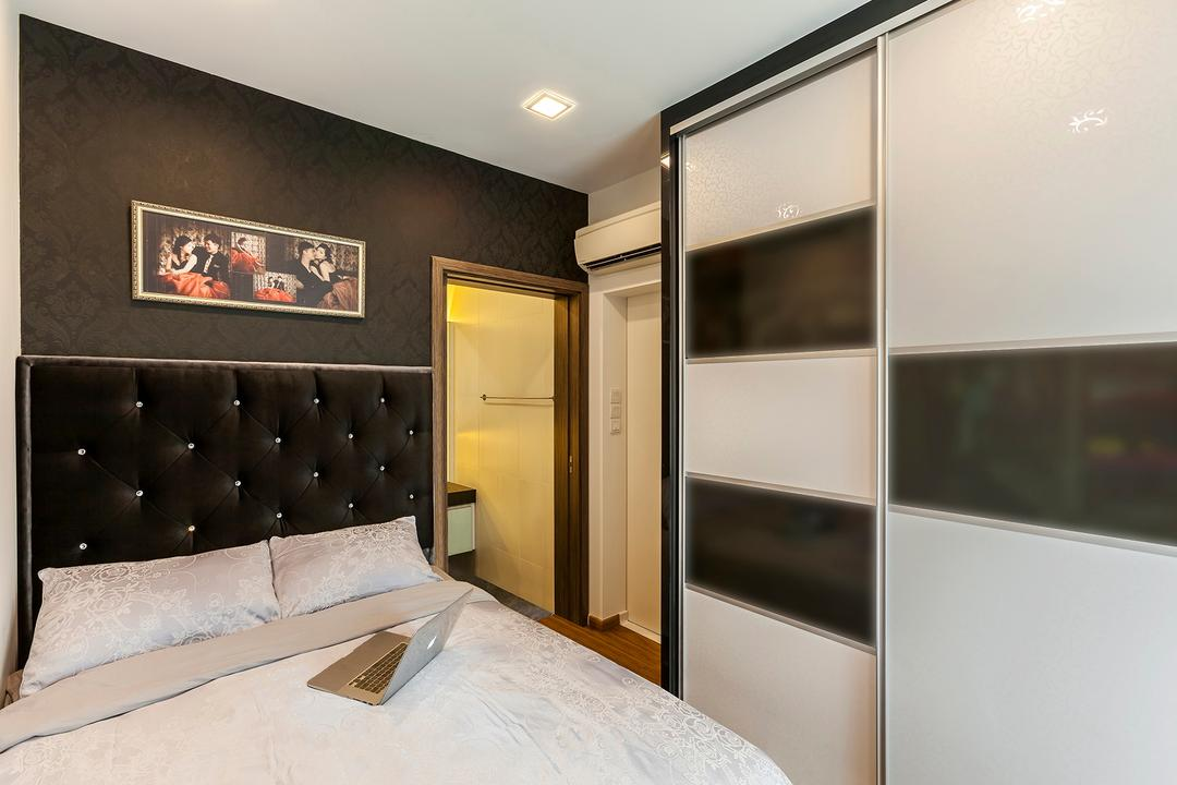 Parc Rosewood, Corazon Interior, Modern, Bedroom, Condo, Recessed Lights, Black Cushioned Headboard, Cushioned Headboard, Black Headboard, White Cabinet, Monochrome Cabinet, Black Wall, Wall Art, Wall Portrait