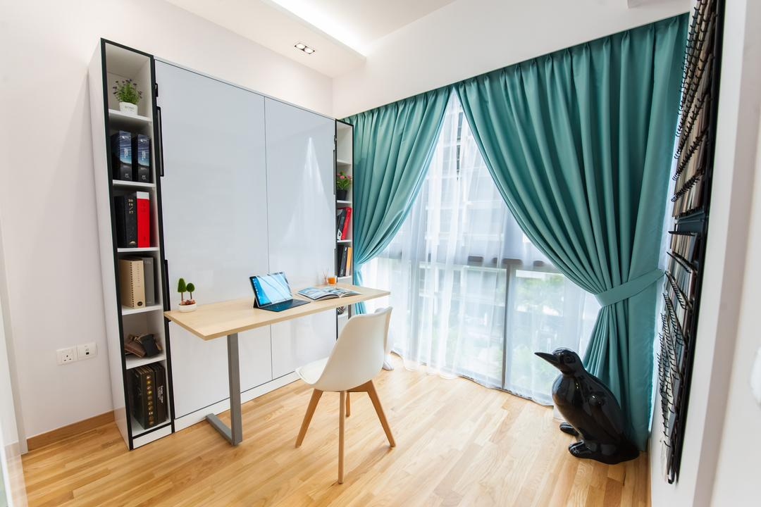 The Inflora, GB Interior Design, Scandinavian, Contemporary, Study, Condo, Modern Contemporary Study Room, Wooden Floor, Shelves, Wooden Study Desk, Cyan Sling Curtain, Desk, Furniture, Table, Flooring