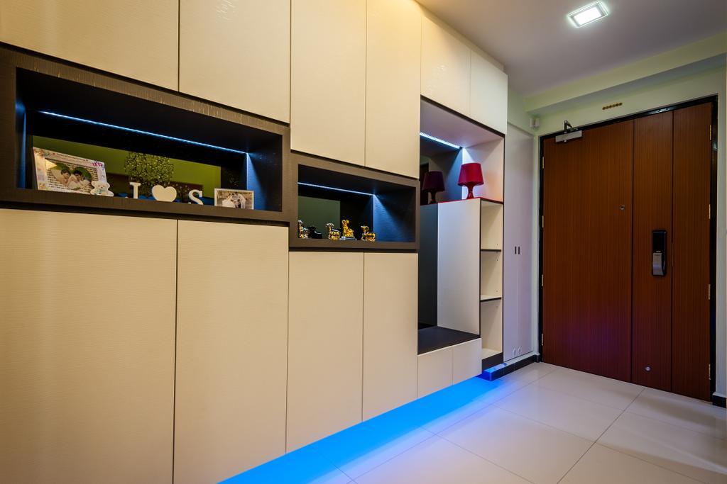 Modern, HDB, Fernvale Link (Block 414A), Interior Designer, Le Interi, Entrance, Brown Door, White Flooring, Recessed Lighting, Brown Cabinets, Open Shelf, Light Brown