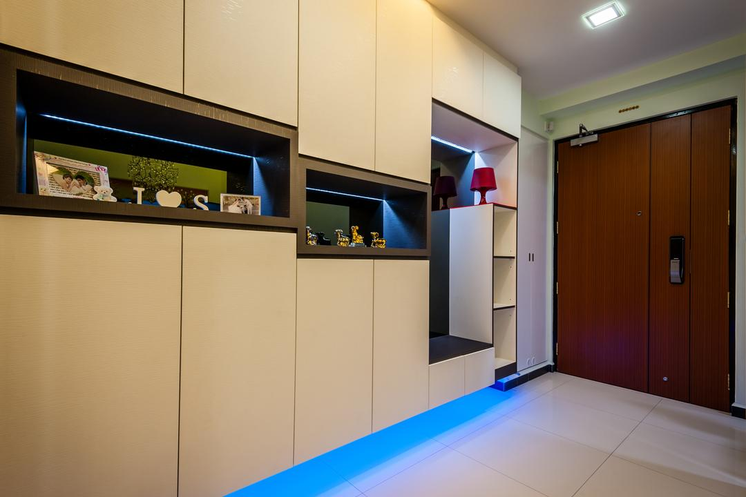 Fernvale Link (Block 414A), Le Interi, Modern, HDB, Entrance, Brown Door, White Flooring, Recessed Lighting, Brown Cabinets, Open Shelf, Light Brown
