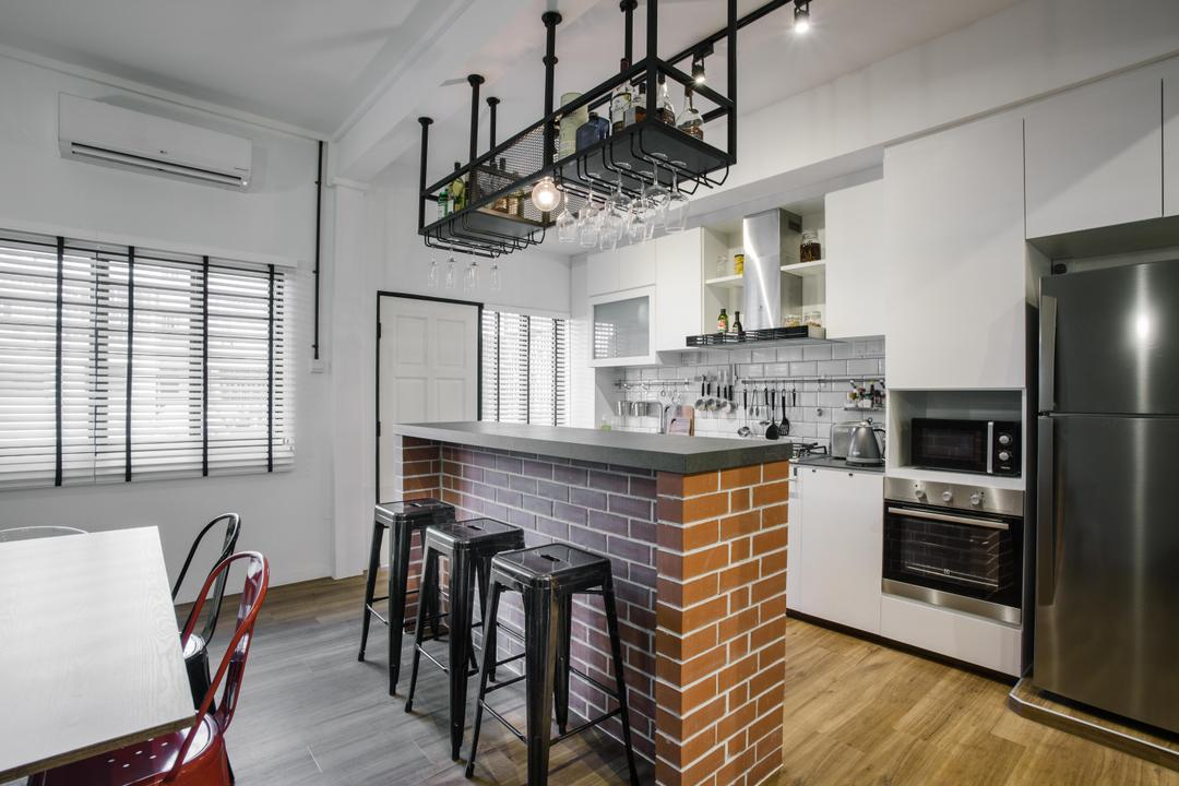 Still Road, Chapter One Interior Design, Industrial, Kitchen, HDB, Wooden Floor, White Kitchen Cabinet, Built In Oven, Bar Counter, Standing Bar, Bar In Kitchen, Appliance, Electrical Device, Oven, Chair, Furniture, Building, Housing, Indoors, Loft