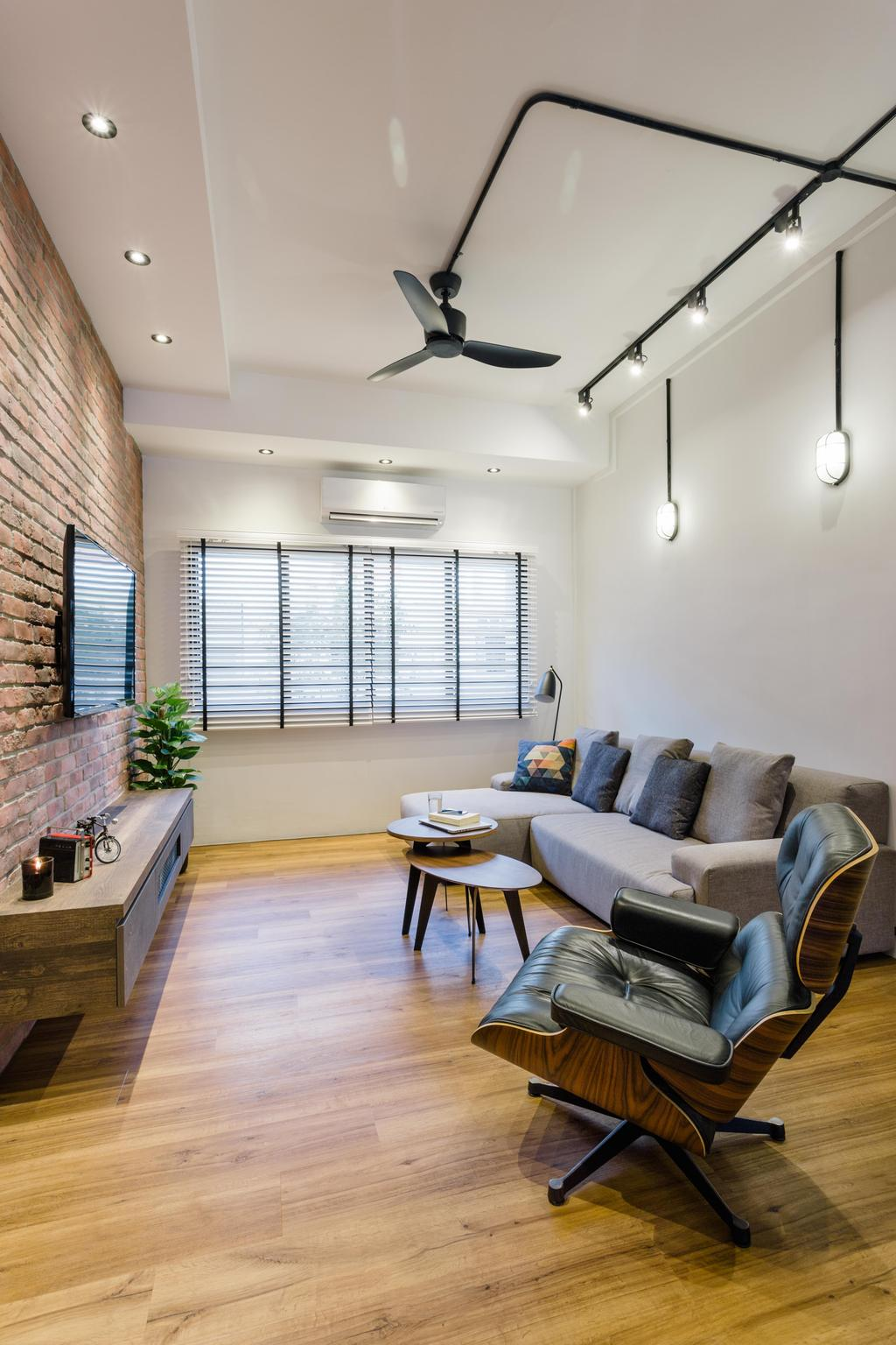 Industrial, HDB, Still Road, Interior Designer, Chapter One Interior Design, Couch, Furniture, Flora, Jar, Plant, Potted Plant, Pottery, Vase, Indoors, Room, Dining Table, Table, Chair, Machine, Ramp