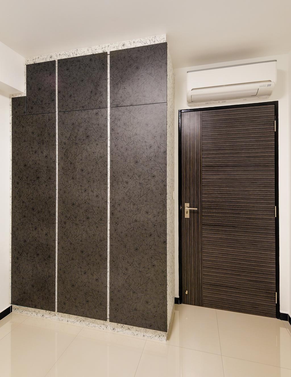 Modern, HDB, Bedroom, Fernvale Link (Block 414A), Interior Designer, Le Interi, Brown Wardrobe, Brown Doors, White Flooring, Marble Flooring