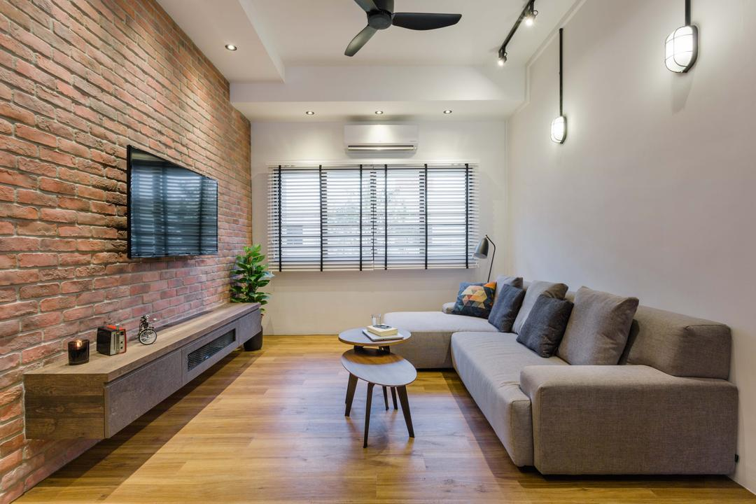 Still Road, Chapter One Interior Design, Industrial, Living Room, HDB, Wooden Floor, Wall Mounted Television, Ceiling Fan, Track Lights, Sectional Sofa, Brick Wall, Wall Mount Tv Console, Couch, Furniture, Dining Table, Table