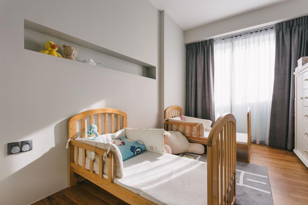 Modern, HDB, Bedroom, Punggol Waterway Terraces, Interior Designer, Third Avenue Studio, Contemporary, Kids Room, Wooden Floor, Rug, Buit In Shelve, Wooden Bedding, Airy, Cosy, Cozy, Comfortable, White Cabinet, Bed, Furniture, Indoors, Interior Design, Room