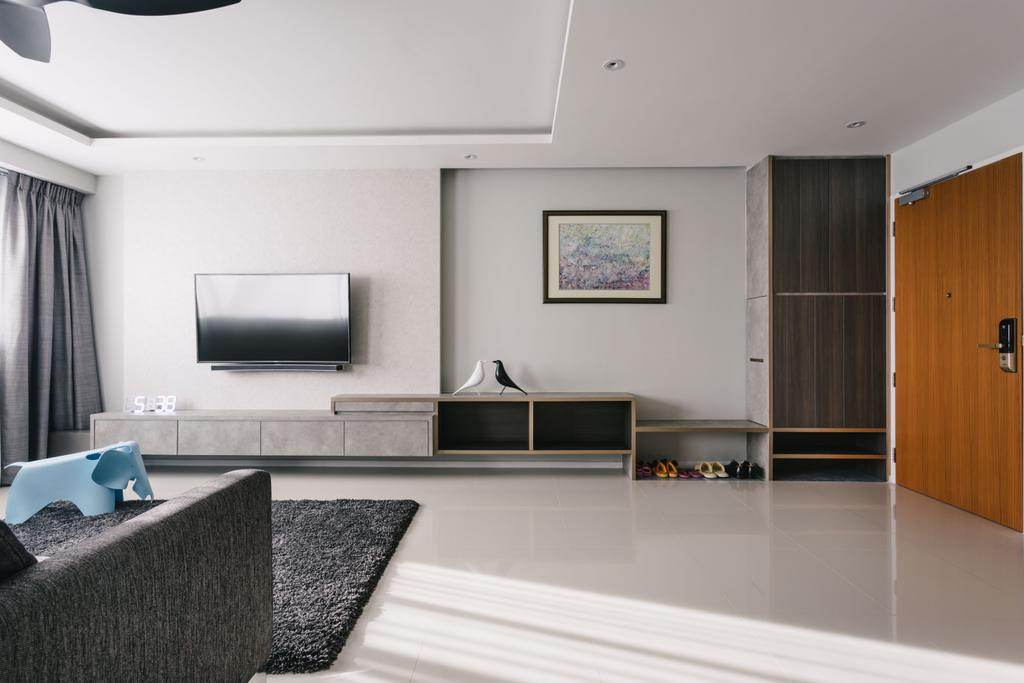 Modern, HDB, Living Room, Punggol Waterway Terraces, Interior Designer, Third Avenue Studio, Contemporary, Airy, Spacious, Wall Mounted Television, Television Console, Coffered Ceiling, Black Rug, Recessed Lights, Modern Contemporary Living Room, Wooden Door, Indoors, Interior Design