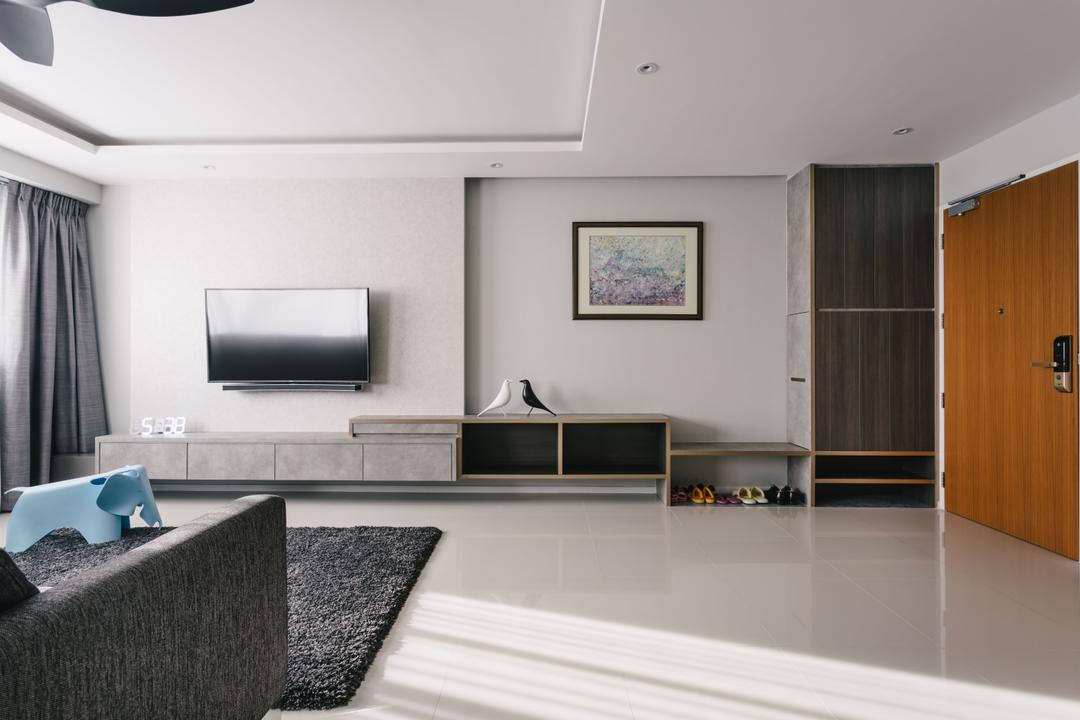 Punggol Waterway Terraces, Third Avenue Studio, Modern, Contemporary, Living Room, HDB, Airy, Spacious, Wall Mounted Television, Television Console, Coffered Ceiling, Black Rug, Recessed Lights, Modern Contemporary Living Room, Wooden Door, Indoors, Interior Design
