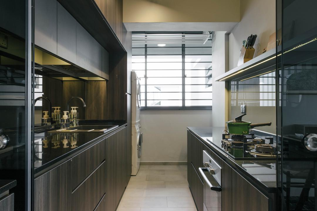 Punggol Waterway Terraces, Third Avenue Studio, Modern, Contemporary, Kitchen, HDB, Track Lights, Ceramic Tiles, Wooden Cabinet, Black Laminated Top, Modern Contemporary Kitchen, Indoors, Interior Design, Room