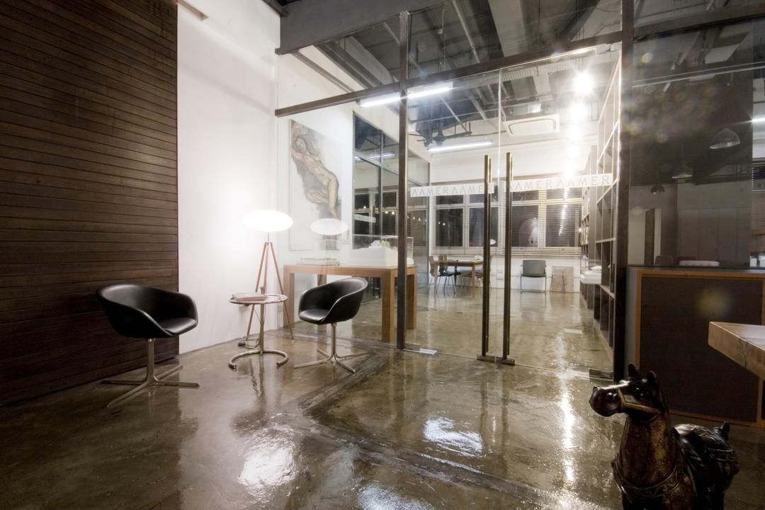 Aamer's Office, Aamer Architects, Contemporary, Commercial, Wooden Wall, Concrete Flooring, Black Chairs, Swivel Chairs, Floor Lamp, Lamp, Glass Doors, Appliance, Electrical Device, Oven, Bar Stool, Furniture