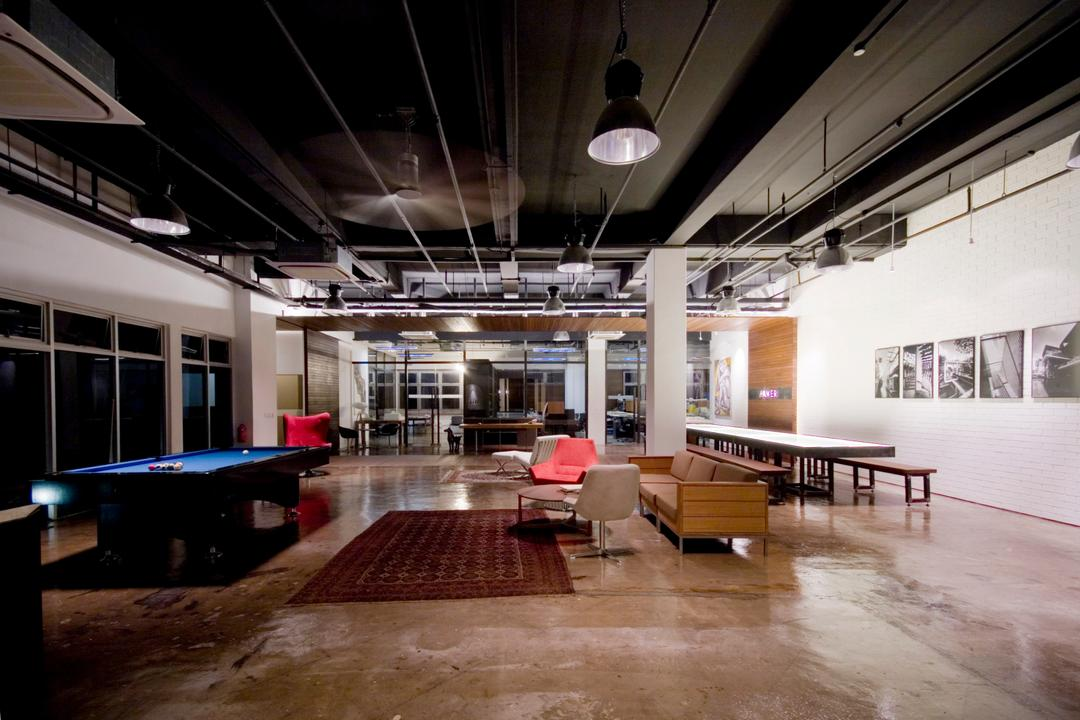 Aamer's Office, Aamer Architects, Contemporary, Commercial, Concrete Flooring, Concrete Floor, White Walls, Black Ceiling, Hanging Light, Pendant Lights, Pool Table, Carpet, Human, People, Person, Light Fixture, Flooring