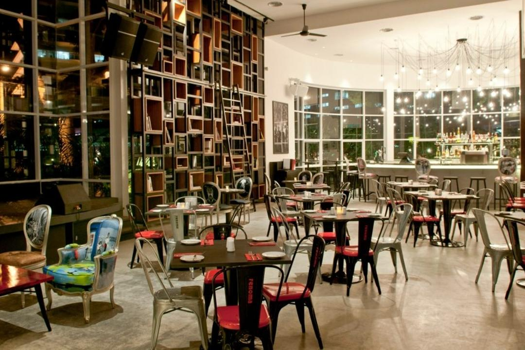 Renoma Cafe KL, Aamer Architects, Contemporary, Commercial, Hanging Lights, High Shelves, Dining Tables, Dining Chairs, Glass Window, High Windows, High Ceiling, Colorful Chairs, Colourful Chairs, Cushioned Chairs, Dining Table, Furniture, Table, Chair, Cafe, Restaurant, Indoors, Interior Design, Library, Room