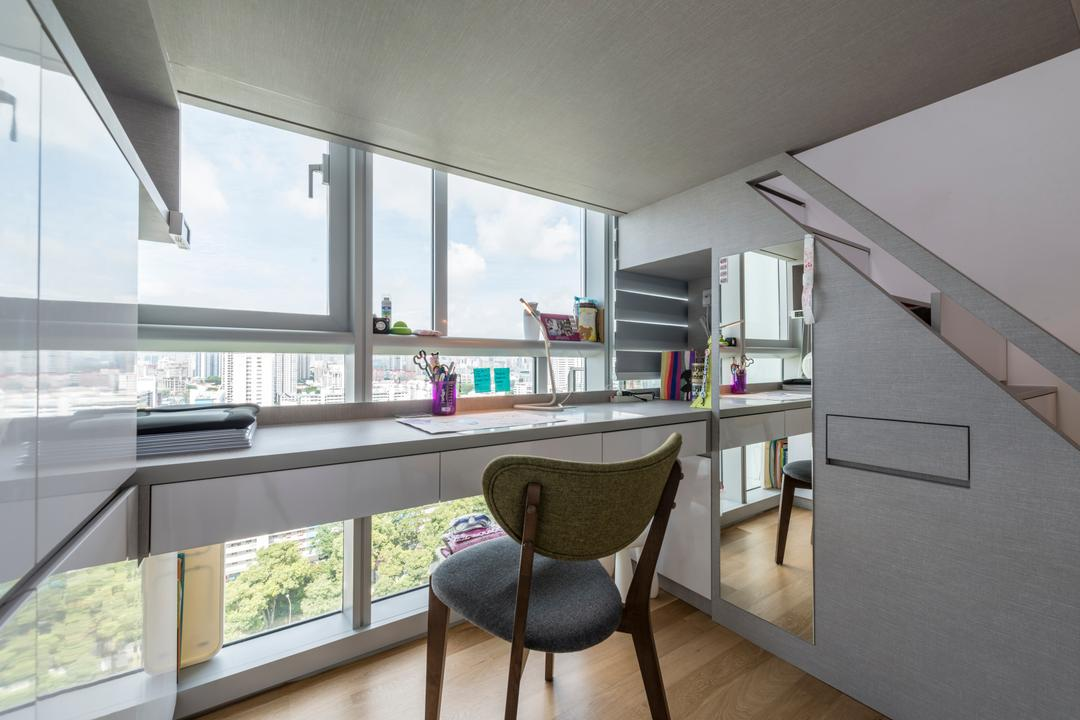 Eight Riversuites, Meter Square, Contemporary, Modern, Study, Condo, Modern Contemporary Study Room, Wooden Floor, Study Chair, Wall Mounted Study Desk, Stairs, Staircase, Stairway, Chair, Furniture, HDB, Building, Housing, Indoors, Loft