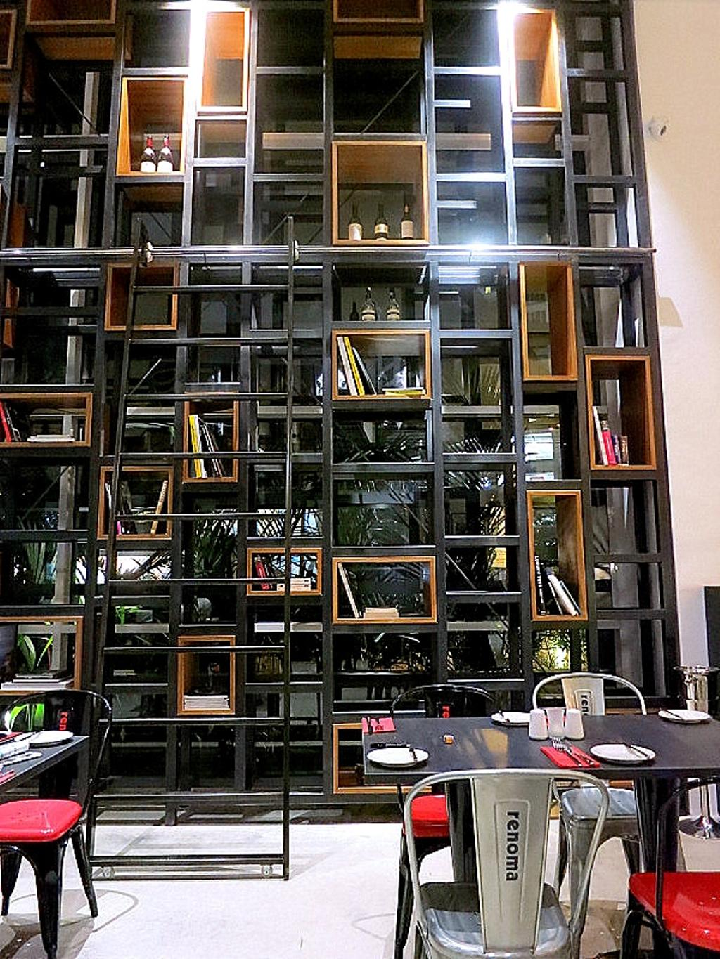 Renoma Cafe KL, Commercial, Architect, Aamer Architects, Contemporary, High Shelves, Open Shelves, Black Shelves, Colourful Chairs, Colorful Chairs, Aluminium Chairs, Bookcase, Furniture