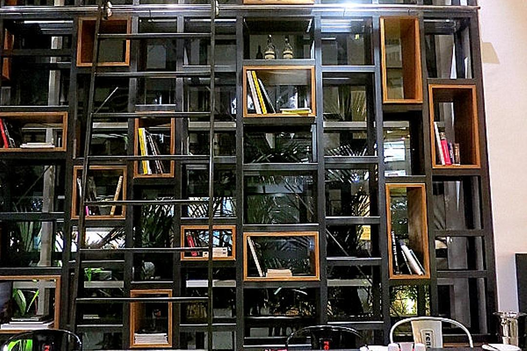 Renoma Cafe KL, Aamer Architects, Contemporary, Commercial, High Shelves, Open Shelves, Black Shelves, Colourful Chairs, Colorful Chairs, Aluminium Chairs, Bookcase, Furniture