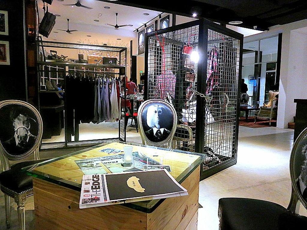 Renoma Cafe KL, Commercial, Architect, Aamer Architects, Contemporary, Display Cases, Ceiling Fan, Black Chairs, Cushioned Chairs, Wooden Table, Black Ceiling