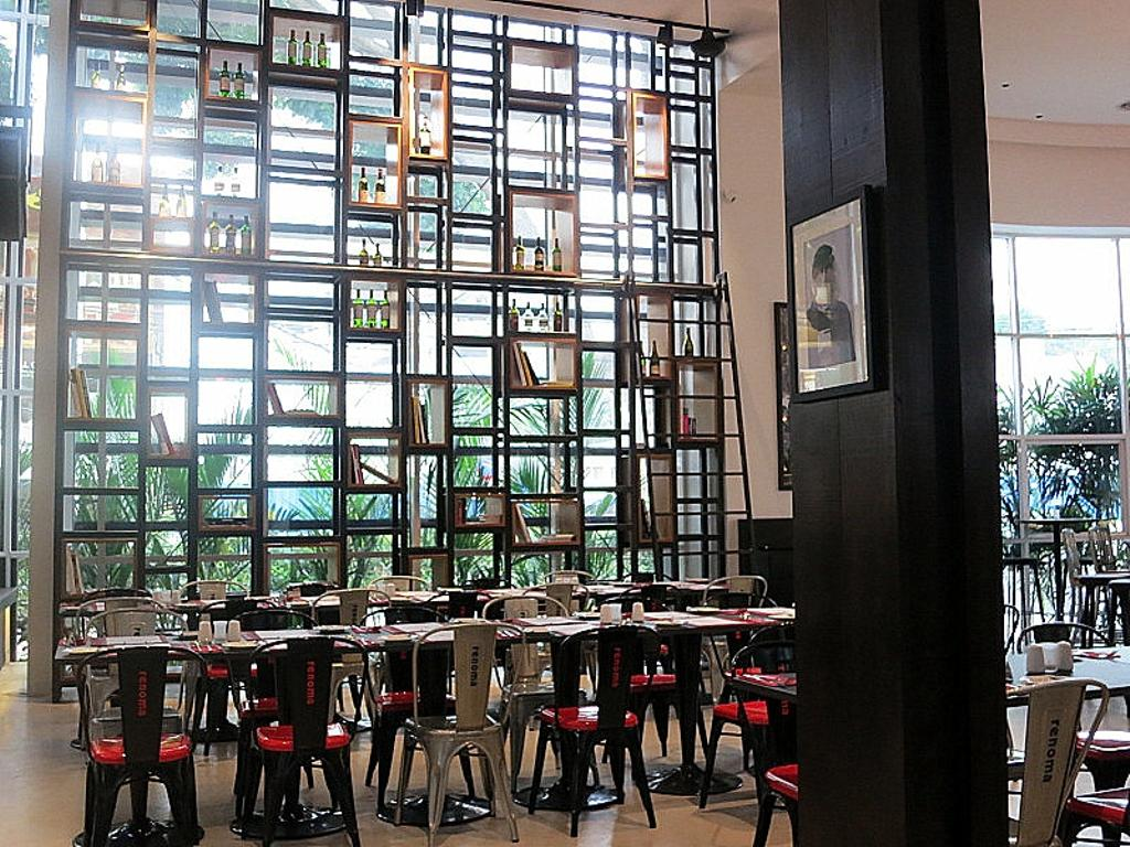 Renoma Cafe KL, Commercial, Architect, Aamer Architects, Contemporary, High Shelves, High Ceiling, Open Shelves, Dining Tables, Dining Chairs, Red Chairs, Cafe, Restaurant