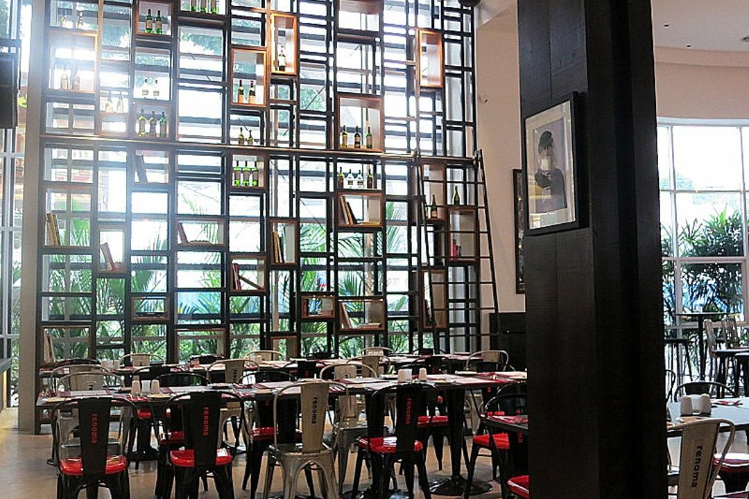 Renoma Cafe KL, Aamer Architects, Contemporary, Commercial, High Shelves, High Ceiling, Open Shelves, Dining Tables, Dining Chairs, Red Chairs, Cafe, Restaurant