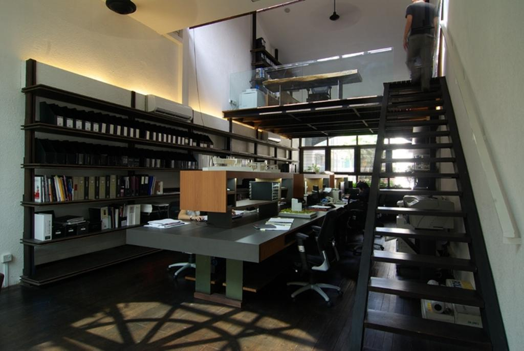 Sophia Office, Commercial, Architect, Aamer Architects, Contemporary, Stairway, Black Stairway, Steps, White Walls, Work Desk, Open Concept Desk, Open Space Concept, Office Chairs, Glass Barricade, Wall Shelf, Open Shelf, Open Shelves, Wall Shelves, Bookcase, Furniture, Indoors, Interior Design, Library, Room