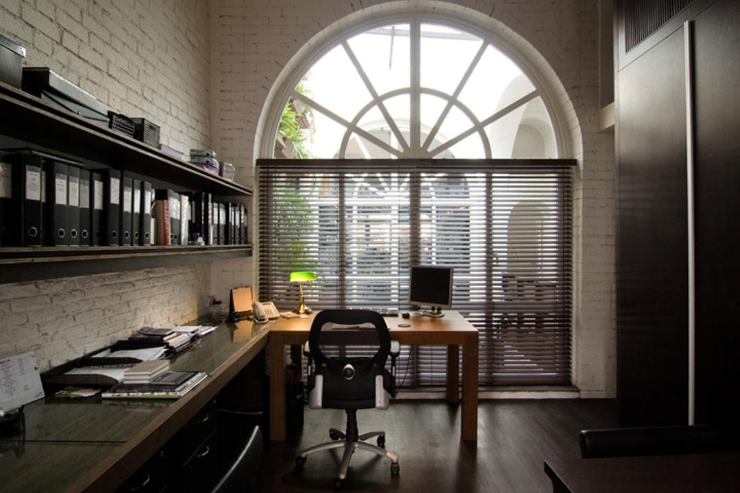 Sophia Office, Aamer Architects, Contemporary, Commercial, Arched Window, White Window, Wooden Flooring, White Brick Wall, Brick Wall, Wall Shelf, Wall Mounted Shelf, Shel, Open Shelf, Bookshelf, Study Table, L Shaped Table, Blinds, Office Chair, Arch, Arched, Architecture, Building