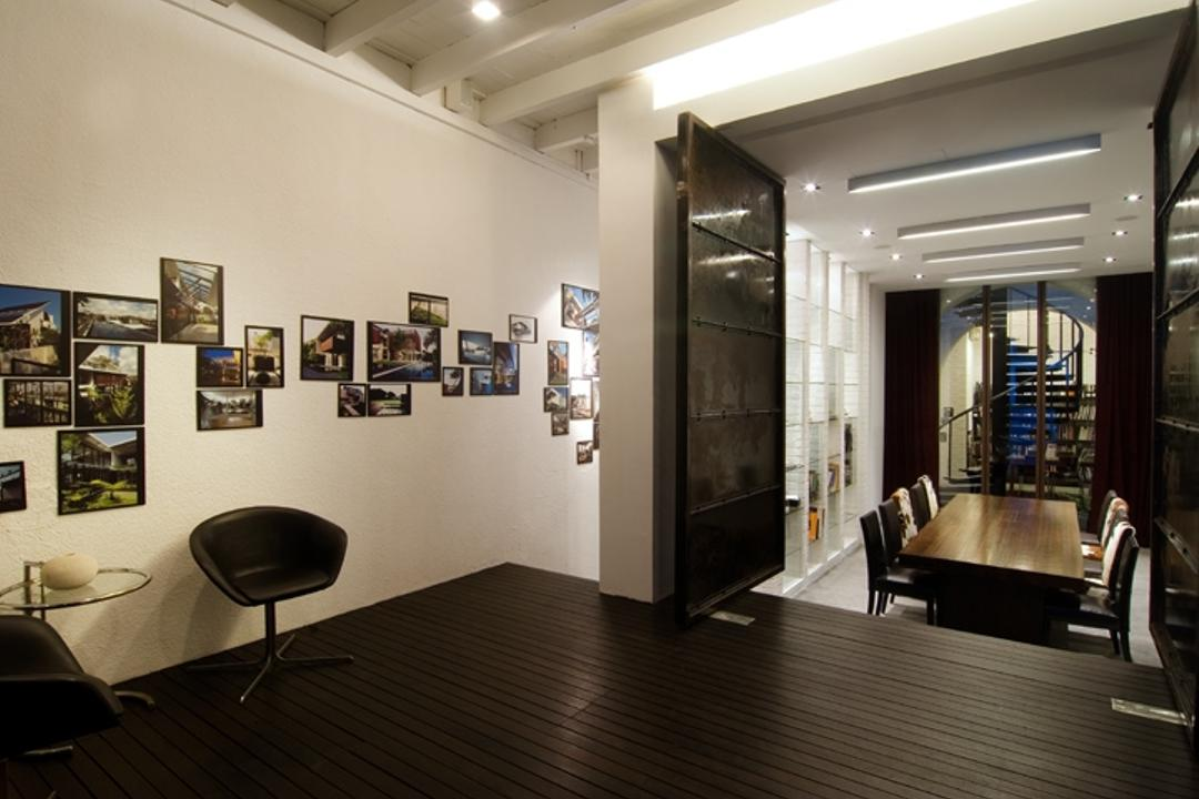 Sophia Office, Aamer Architects, Contemporary, Commercial, Ceiling Lighting, Wooden Flooring, Brown Floor, White Walls, Portraits, Wall Portraits, Swivel Chair, Conference Room, Indoors, Meeting Room, Room, Dining Room, Interior Design