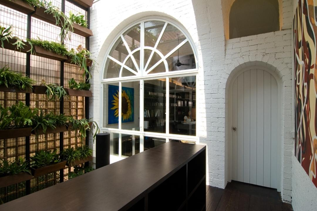 Sophia Office, Aamer Architects, Contemporary, Commercial, Arched Wall, Arched Door, White Wall, White Door, Plantation Shelves, Plant, Wooden Shelves, Wooden Shelf, White Brick Wall, Brick Wall, Wall Portrait, Wall Art, Flora, Jar, Potted Plant, Pottery, Vase, Arch, Arched, Architecture, Building, Balcony