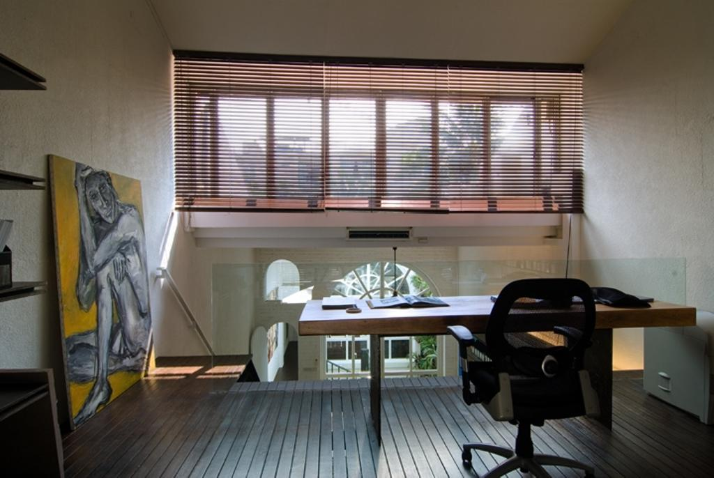 Sophia Office, Commercial, Architect, Aamer Architects, Contemporary, Blinds, Wooden Flooring, Brown Flooring, Study Desk, Glass Barricade, Office Chair, Wooden Table, White Walls, Art Piece, Chair, Furniture, Dining Room, Indoors, Interior Design, Room