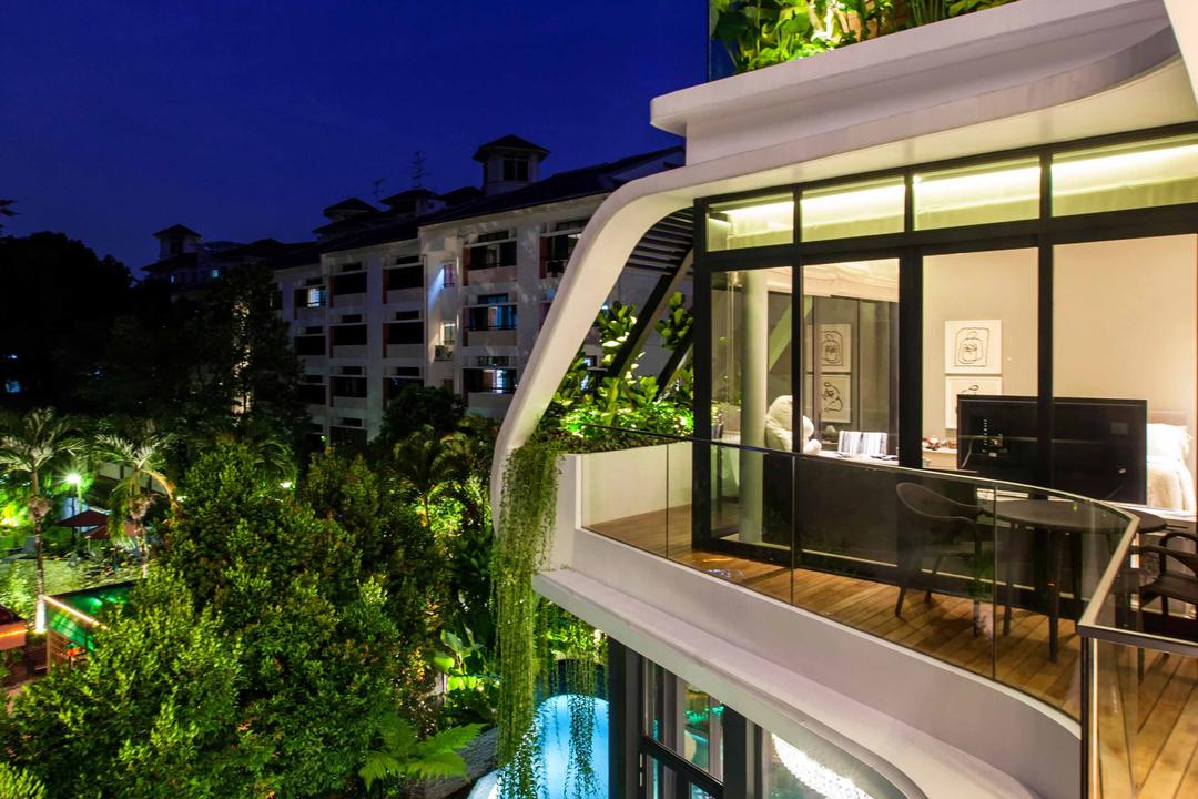 Wajek Walk, Aamer Architects, Modern, Landed, Swimming Pool, Pool, Wooden Planks, Full Length Glass Windows, Glass Windows, Bungalow, Conifer, Flora, Plant, Tree, Yew