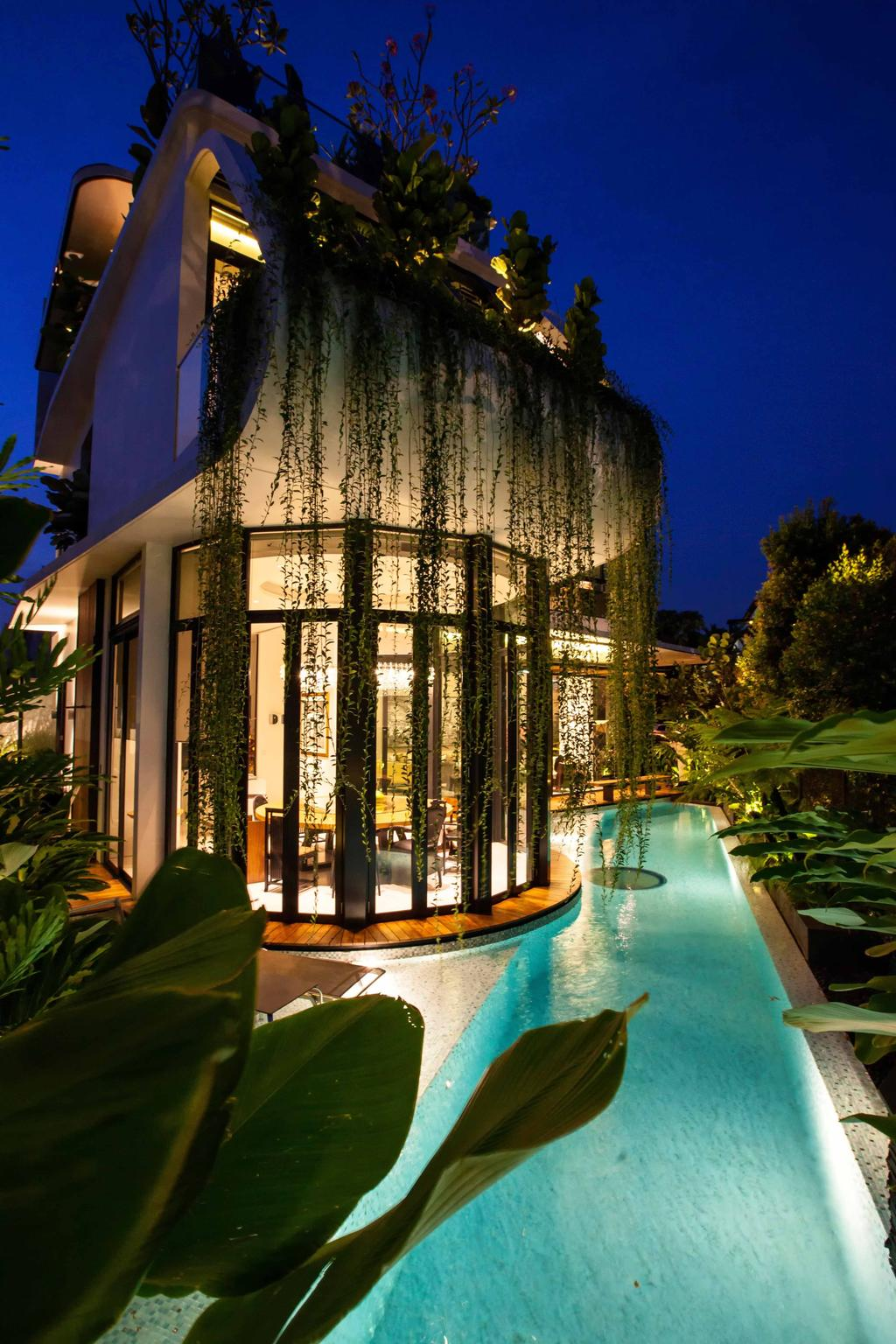 Modern, Landed, Wajek Walk, Architect, Aamer Architects, Swimming Pool, Pool, Bungalow, Full Length Window, Glass Windows, Hanging Plant, Indoor Pool, Private Pool, House Pool, Plants, Greenery Deco, Flora, Jar, Plant, Potted Plant, Pottery, Vase, Water