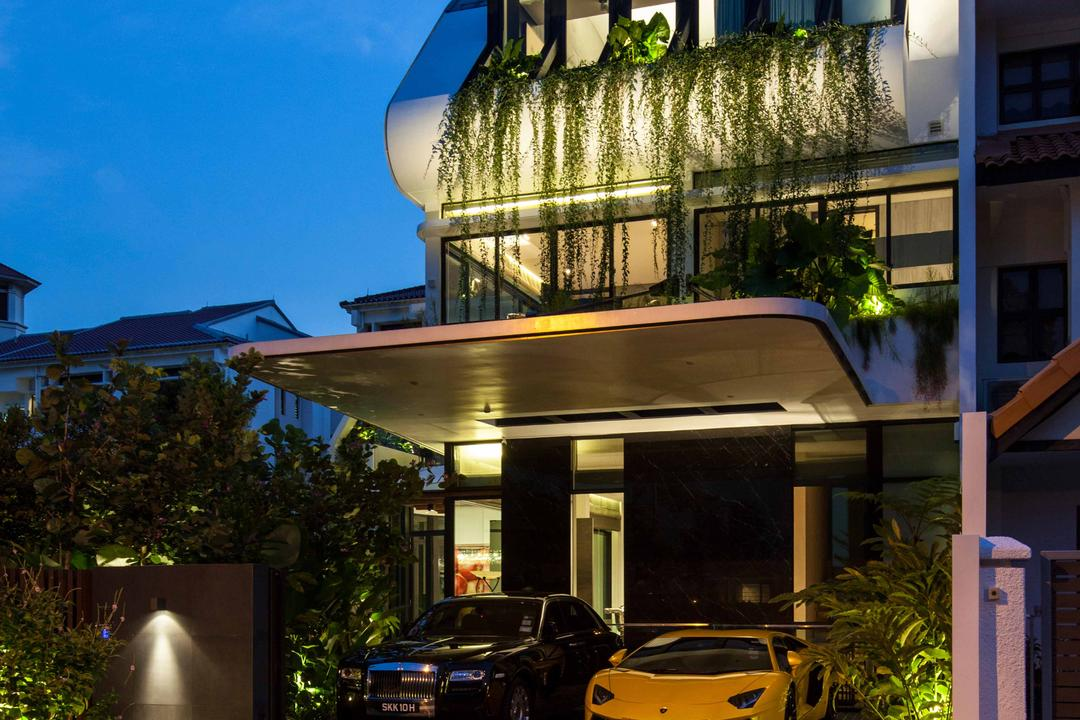 Wajek Walk, Aamer Architects, Modern, Landed, Bungalow, Exterior, Spotlight, Driveway, Car Shelter, Greenery Decor, Flora, Jar, Plant, Potted Plant, Pottery, Vase, Automobile, Car, Transportation, Vehicle