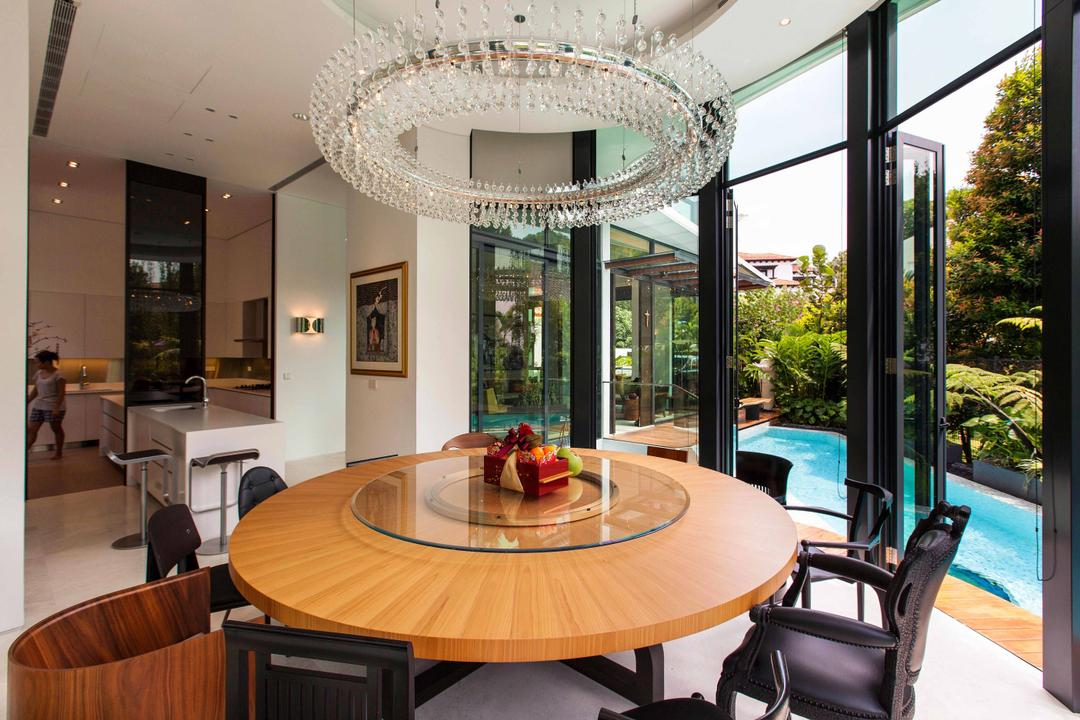 Wajek Walk, Aamer Architects, Modern, Dining Room, Landed, Hanging Light, Chandelier, Wooden Table, Full Length Windows, Glass Windows, Lazy Susan, Swimming Pool, Pool, Indoors, Interior Design, Room, Chair, Furniture, Dining Table, Table, Appliance, Electrical Device, Oven