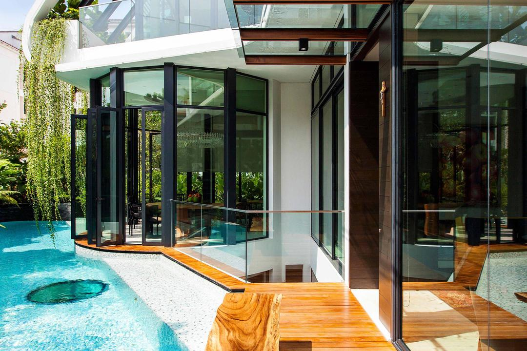 Wajek Walk, Aamer Architects, Modern, Landed, Swimming Pool, Pool, Wooden Plank, Wooden Planks, Full Length Windows, Hanging Plants, Glass Windows, Outdoor, Water, Building, House, Housing, Villa, Hardwood, Wood, Stained Wood