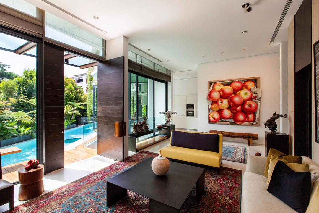 Wajek Walk, Aamer Architects, Modern, Living Room, Landed, Wallart, Wall Art, Painting, Wooden Coffee Table, Carpet, Pool, Swimming Pool, Full Length Window, Wooden Door, Display Piece, Couch, Furniture, Indoors, Interior Design, Spa