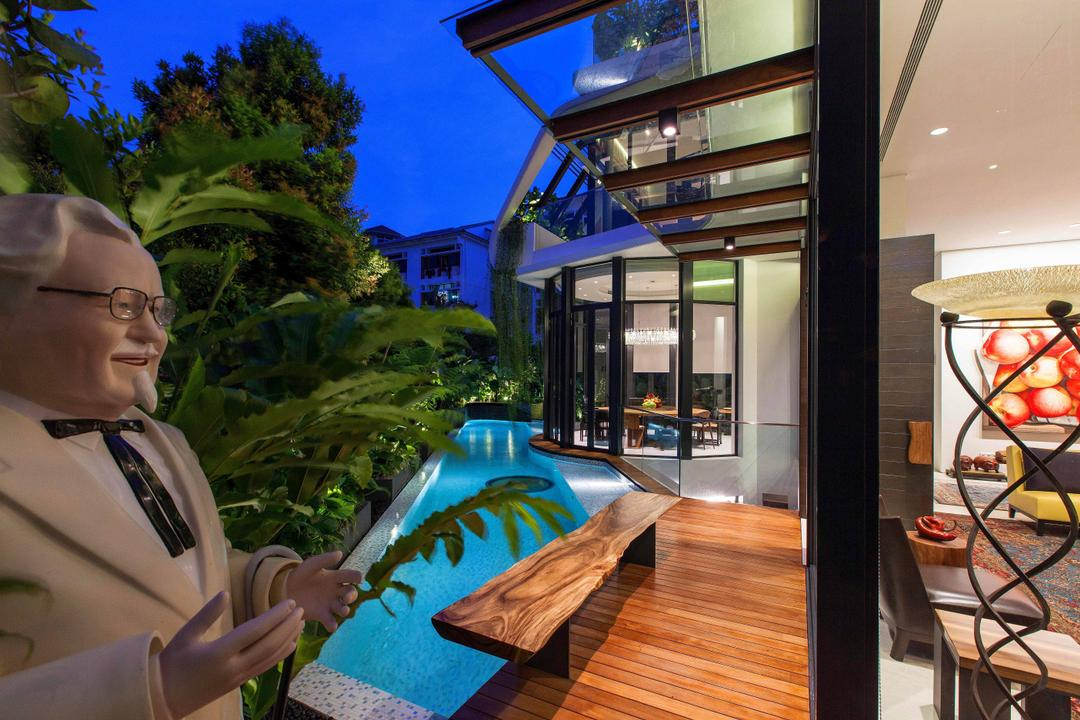 Wajek Walk, Aamer Architects, Modern, Landed, Wooden Planks, Swimming Pool, Pool, Bungalow, Human, People, Person, Building, House, Housing, Villa, Flora, Jar, Plant, Potted Plant, Pottery, Vase, Water
