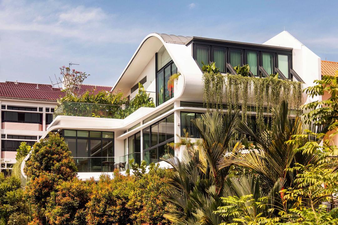 Wajek Walk, Aamer Architects, Modern, Landed, Bungalow, Exterior, Greenery Decor, Plantation, White Exterior