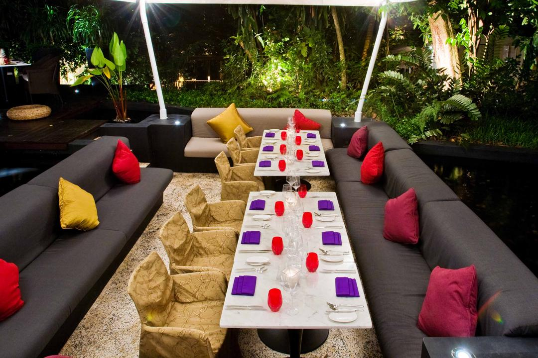Rochester Park, Aamer Architects, Contemporary, Commercial, Colourful Pillows, Pillows, Long Table, Sofa, Grey Sofa, Gray Sofa, Tent, Marquee, Flora, Jar, Plant, Potted Plant, Pottery, Vase, Couch, Furniture, Conifer, Tree, Yew