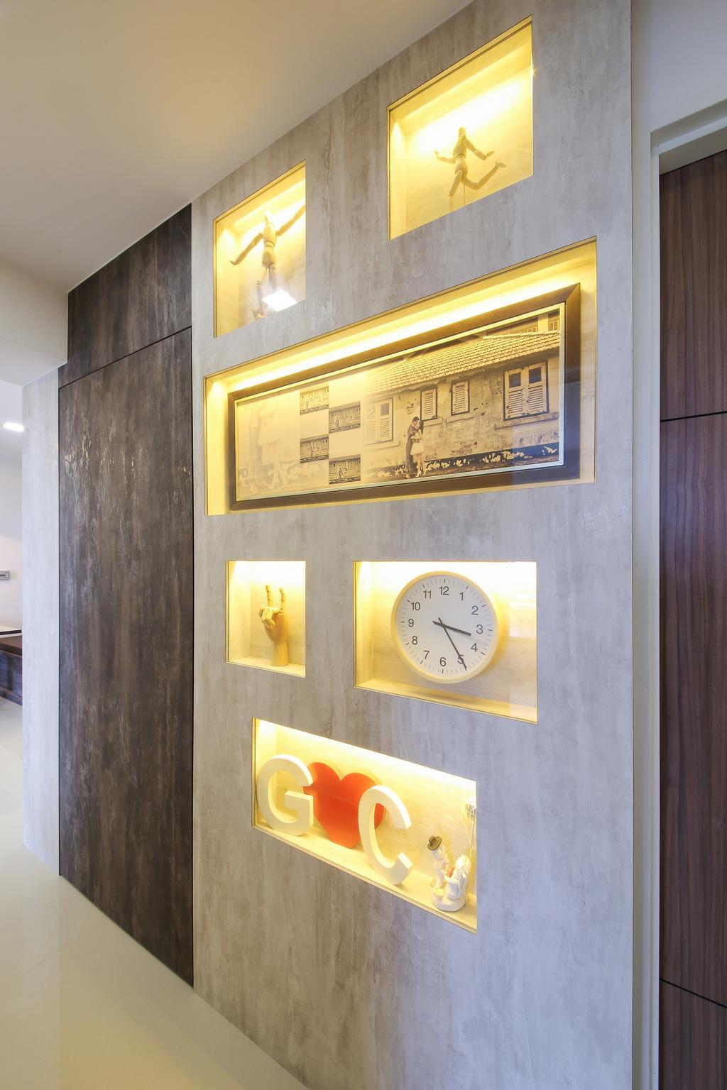 Modern, HDB, Living Room, Adora Green, Interior Designer, Dap Atelier, Scandinavian, Clock