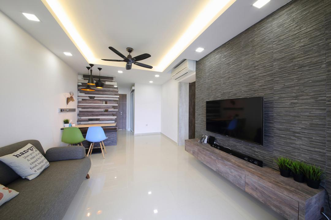 Adora Green, Dap Atelier, Modern, Scandinavian, Living Room, HDB, Modern Contemporary Living Room, Coffered Ceiling, Hidden Interior Lighting, Recessed Lights, Marble Floor, Wall Mounted Television, Floating Wooden Television Console, Chair, Furniture, Light Fixture