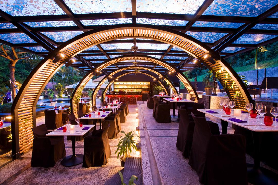 Rochester Park, Aamer Architects, Contemporary, Commercial, Dome, Dome Shaped Walkway, Glass Ceiling, Transparent Ceiling, Outdoor Dining, Exterior, Flora, Jar, Plant, Potted Plant, Pottery, Vase, Market, Restaurant