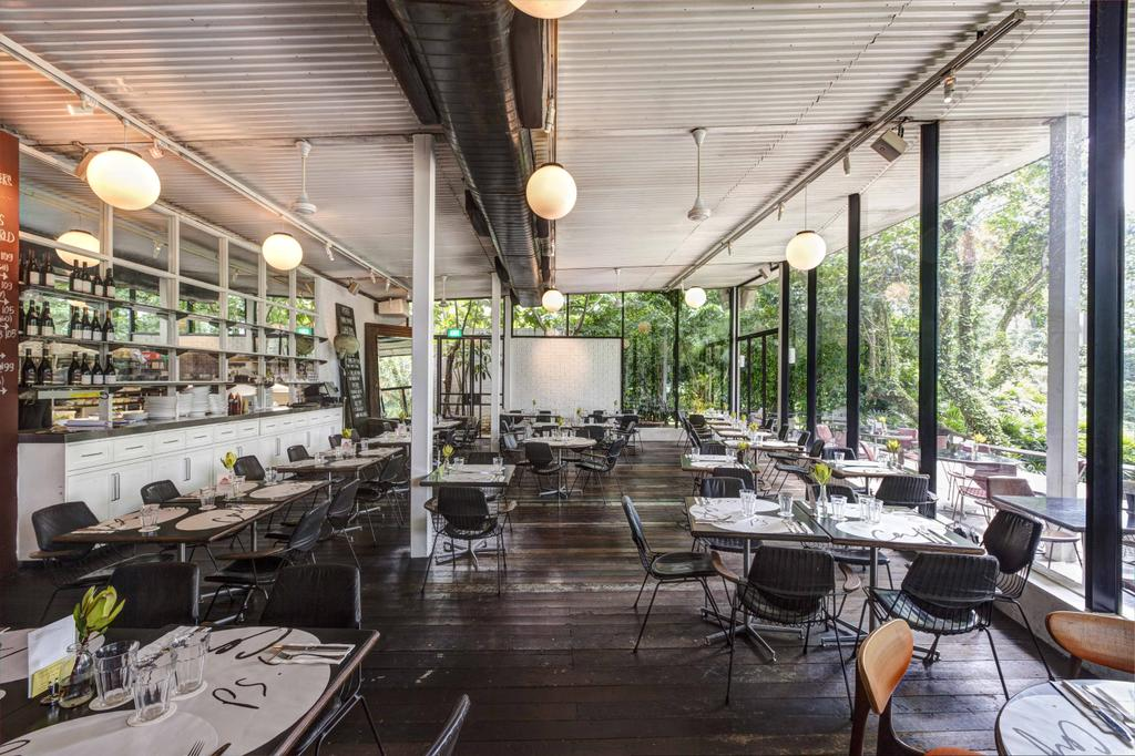 PS Cafe Dempsey, Commercial, Architect, Aamer Architects, Modern, Hanging Light, Sphere Lighting, Wooden Flooring, Parquet, Wooden Planks, Cafe, Cafe Funiture, Full Length Windows, Glass Windows, Chair, Furniture, Patio, Appliance, Electrical Device, Oven, Restaurant