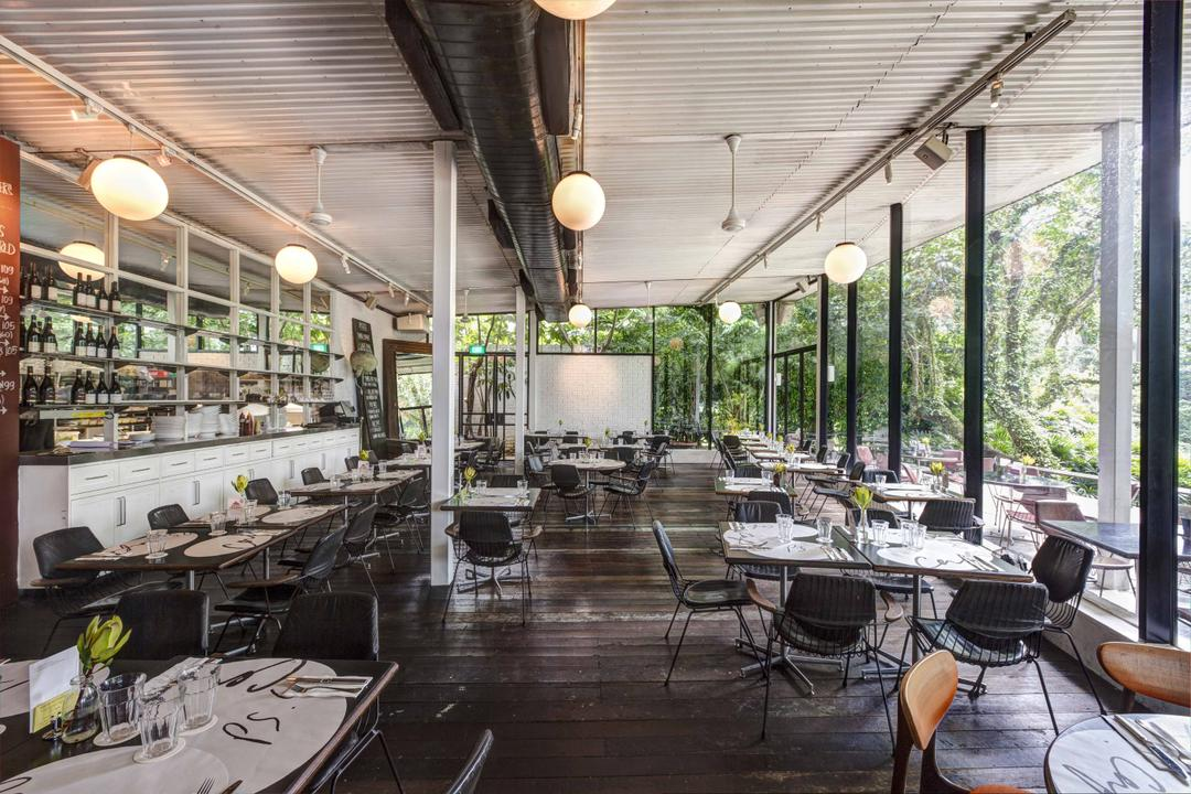 PS Cafe Dempsey, Aamer Architects, Modern, Commercial, Hanging Light, Sphere Lighting, Wooden Flooring, Parquet, Wooden Planks, Cafe, Cafe Funiture, Full Length Windows, Glass Windows, Chair, Furniture, Patio, Appliance, Electrical Device, Oven, Restaurant