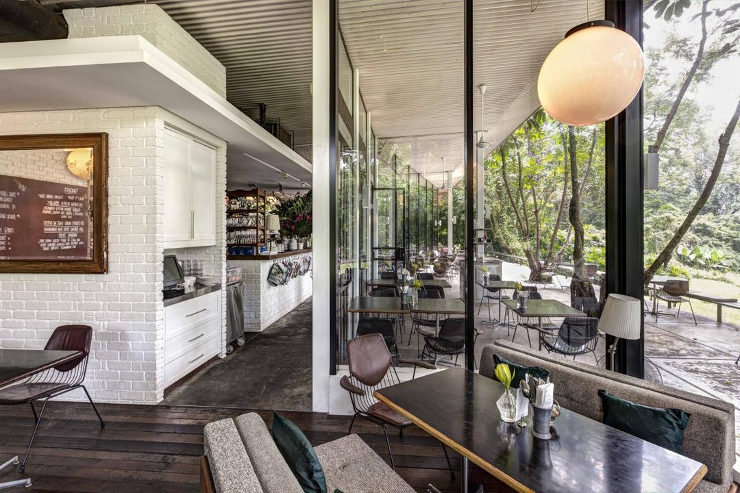 PS Cafe Dempsey, Aamer Architects, Modern, Commercial, Brick Wall, Wallart, Wall Art, Mirror, Full Length Wiwndows, Glass Windows, Full Length Windows, Wooden Flooring, Sphere Lighting, Hanging Light, Pendant Light, Chair, Furniture, Plaque, Porch, Cafe, Restaurant