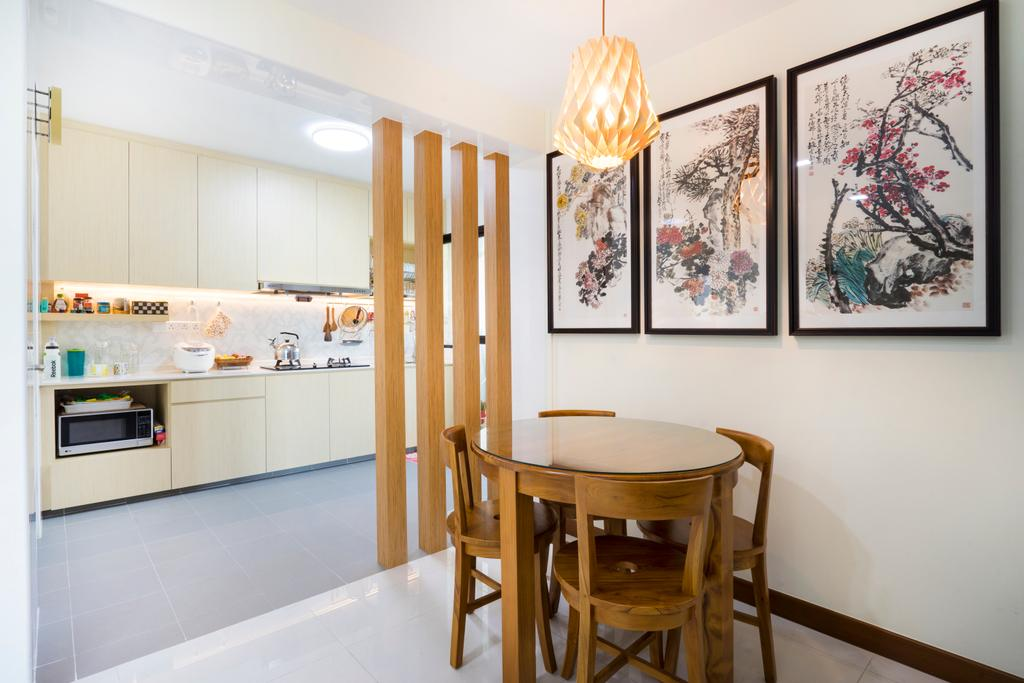 Traditional, HDB, Dining Room, Keat Hong (Block 802A), Interior Designer, Cozy Ideas Interior Design, Dining Table, Furniture, Table, Bar Stool, Indoors, Interior Design, Room, Chair