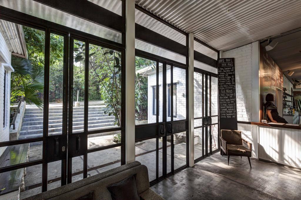 PS Cafe Dempsey, Commercial, Architect, Aamer Architects, Modern, Brick Wall, Chalkboard, Chalk Board, Full Length Windows, Glass Windows, Door, Folding Door, Porch