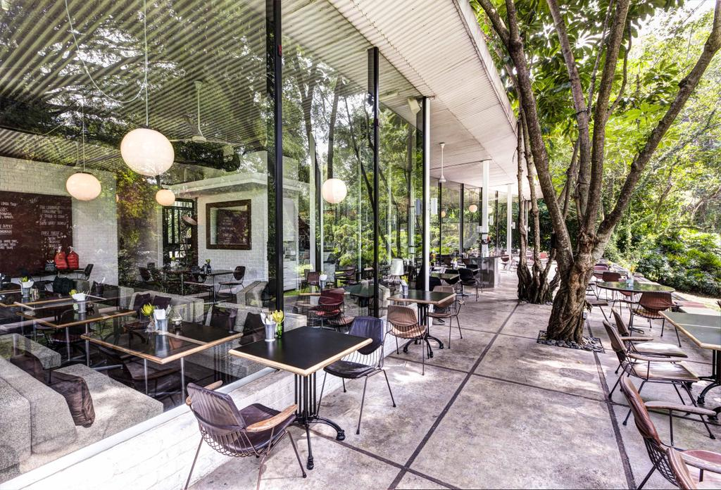 PS Cafe Dempsey, Commercial, Architect, Aamer Architects, Modern, Outdoor, Exterior, Wooden Chairs, Wooden Tables, Wooden Chair, Spehere Lighting, Hanging Light, Chair, Furniture, Dining Table, Table, Cafe, Restaurant