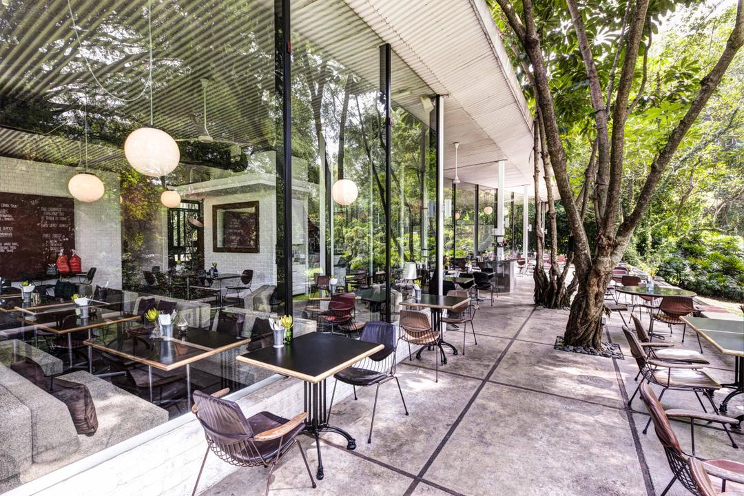 PS Cafe Dempsey, Aamer Architects, Modern, Commercial, Outdoor, Exterior, Wooden Chairs, Wooden Tables, Wooden Chair, Spehere Lighting, Hanging Light, Chair, Furniture, Dining Table, Table, Cafe, Restaurant