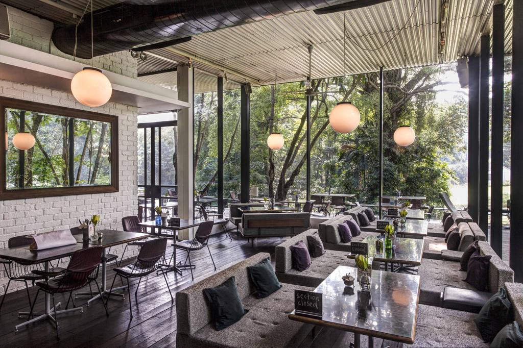PS Cafe Dempsey, Commercial, Architect, Aamer Architects, Modern, Brick Wall, Cushioned Chairs, Cushion Seats, Hanging Light, Sphere Lighting, Full Length Windows, Glass Windows, Mirror, Wall Mirror, Wall Mounted Mirror, Human, People, Person, Couch, Furniture, Chair, Tabletop, Restaurant