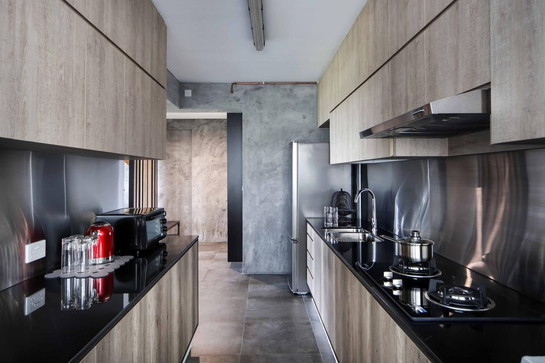 Yishun Street 31 (Block 334C), Versaform, Industrial, Kitchen, HDB, Grey Wall, Gray Wall, Wooden Cabinet, Stainless Steel Backsplash, Backsplash, Stainless Stell, Black Kitchen Top, Indoors, Interior Design, Room