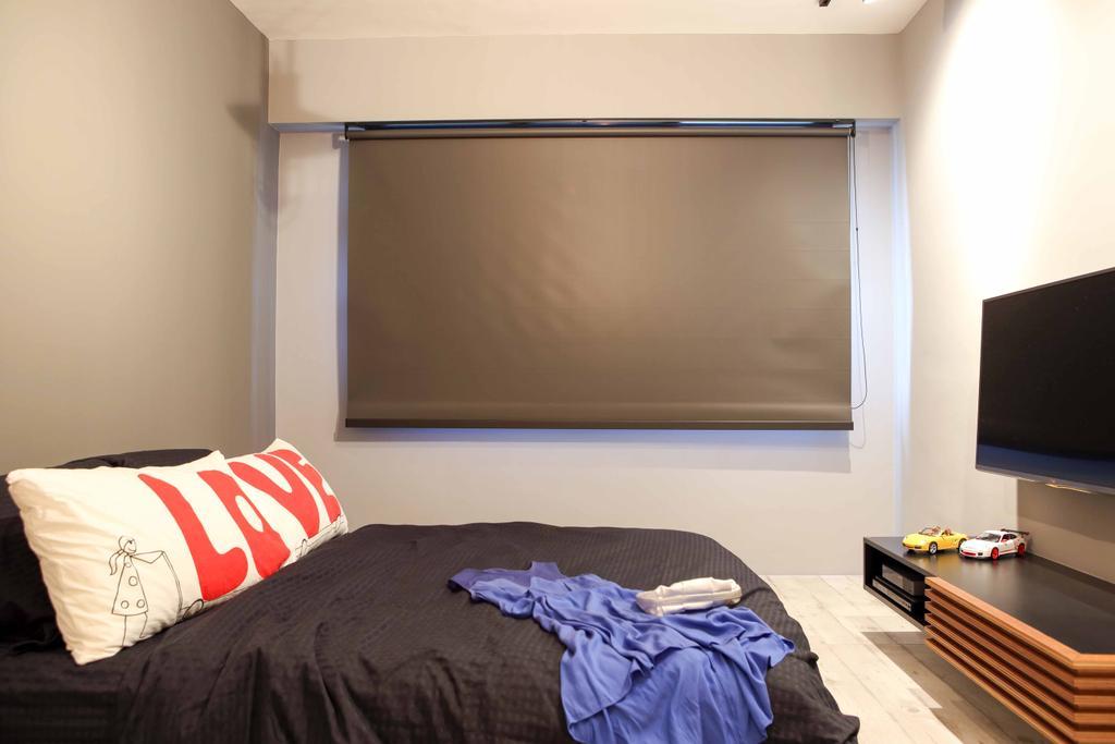 Industrial, HDB, Bedroom, Yishun Street 31 (Block 334C), Interior Designer, Versaform, Grey Blinds, Gray Blinds, White Walls, White Flooring, Wooden Tv Shelf, Tv Shelf, Wall Mount Tv Shelf, Flatscreen Tv
