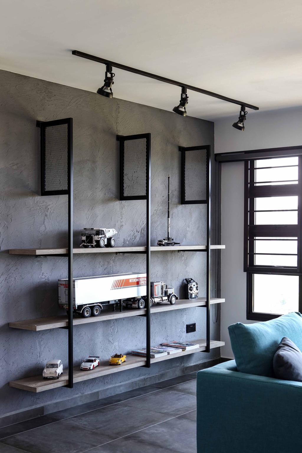 Industrial, HDB, Living Room, Yishun Street 31 (Block 334C), Interior Designer, Versaform, Track Lights, Track Lighting, Grey Floor, Gray Floor, Wall Shelf, Open Shelf, Sofa, Blue Sofa, Grey Wall, Gray Wall